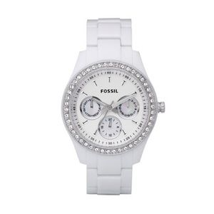 White Resin and Crystal Fossil Watch